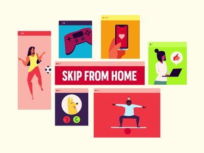 Skip From Home branding after affects vector design movement illustration motion animation
