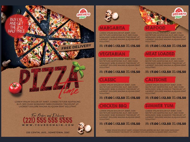 Pizza Promotion Flyer Menu Template