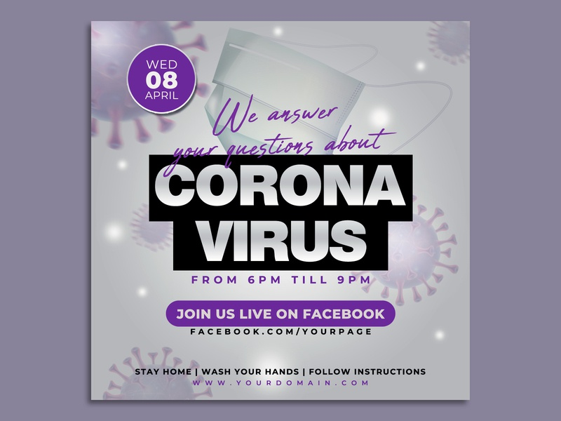 Corona Virus Live Event Flyer Banner Template