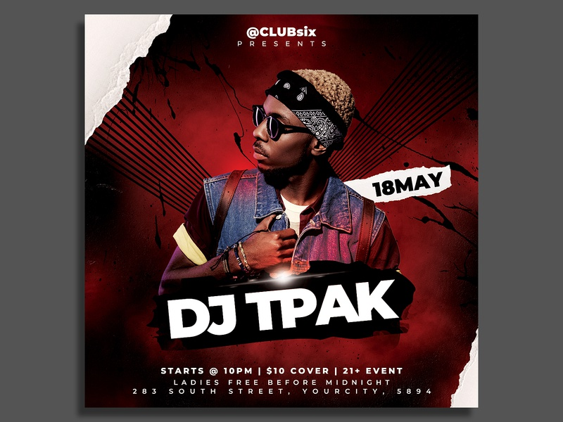 Dj artist Flyer Template summer rnb rap radio show podcast party flyer nightclub music event mixtape invitation instagram guest dj flyer template elegant electro edm dubstep dj tour dj event