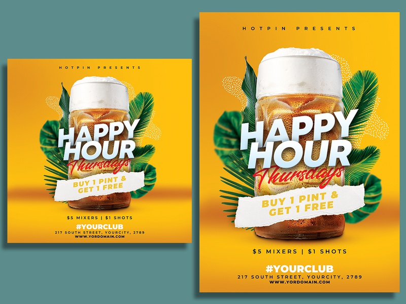 Happy Hour Flyer Template restaurant pub promotion poster party modern leaflet instagram happy hour flyer template event flyer drinks drink design beer promotion beer ad beer bar advertising