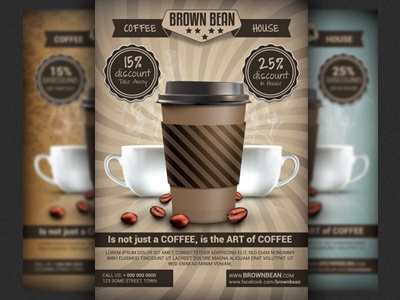 Coffee Shop Magazine Ad Or Flyer Template V2 By Christos