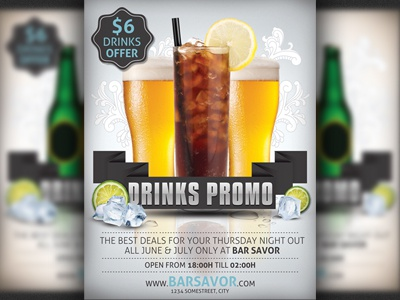 drinks promo flyer template by christos andronicou dribbble