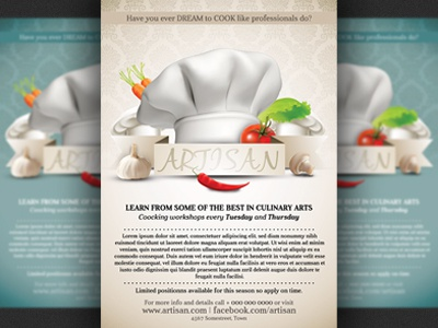 Cooking Lessons Flyer Template By Christos Andronicou  Dribbble