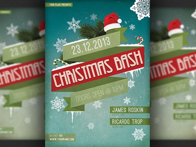 Christmas Bash Party Flyer Template by Christos Andronicou Dribbble – Christmas Flyer Template