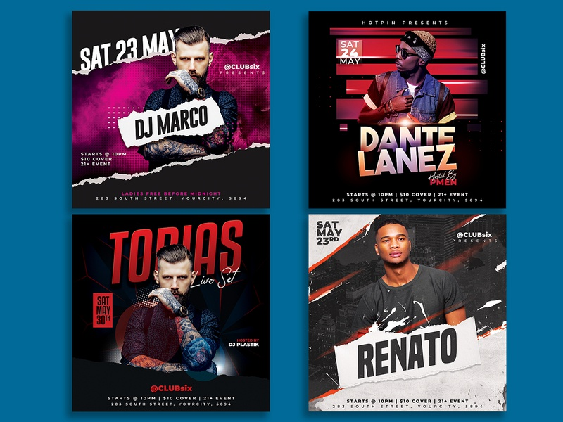 Dj Flyer Bundle minimal invitation instagram hip hop guest dj flyer template event elegant electro edm dubstep dj tour dj flyer dj concert flyer dj concert flyer concert club flyer