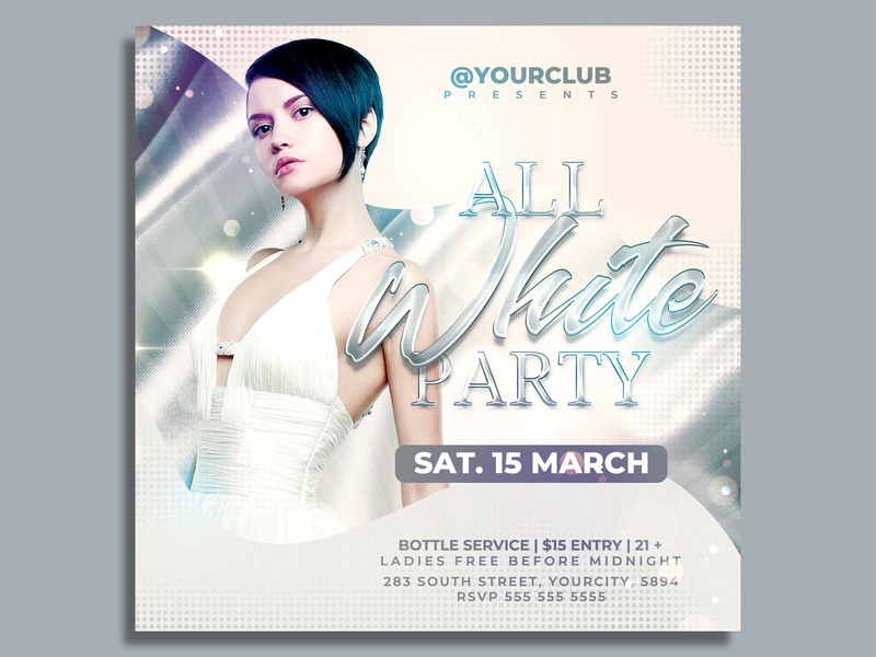 All White Party Flyer Template flyer design club flyer white affair white summer party sexy psd print ready post pool party party flyer party nightclub glamour dance cocktail club all white