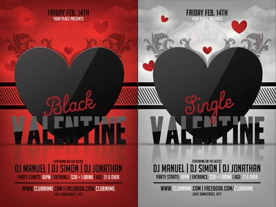 Black Valentines Day Party Flyer Template By Christos Andronicou