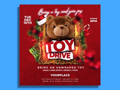 Christmas Toy Drive Flyer Template xmas party toys toy for tots toy drive toy 4 tots toy template santa party holiday flyer template event christmas flyer christmas event christmas charity christmas bash christmas child charity