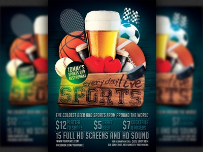 Sports Bar Flyer Template by Christos Andronicou Dribbble – Bar Flyer Template