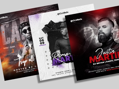 Dj Flyer Bundle nightclub music event mixtape invitation instagram house music guest dj flyer template elegant electronic edm dubstep dj tour dj event cover club flyer banner artist flyer