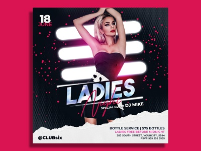Ladies Night Flyer Template psd party flyer party nightclub night club music luxury ladies night ladies invitation girls night out girl friday night fashion event flyer entertainment celebration card templates birthday party
