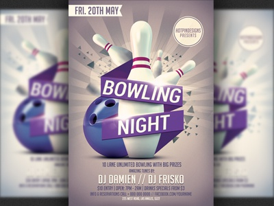 Bowling Nights Party Flyer Template By Christos Andronicou  Dribbble