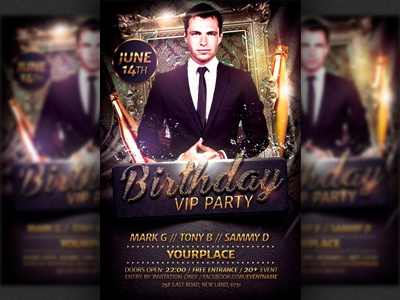 BirthdayBachelor Party Flyer Template By Christos Andronicou