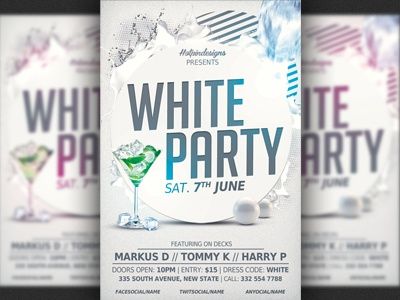 White Affair Party Flyer Template By Christos Andronicou Dribbble