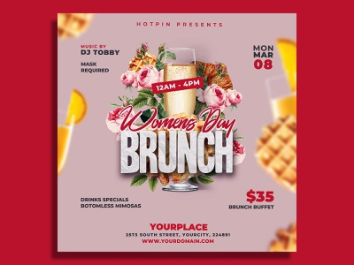 Womens Day Brunch Flyer Template menu lunch lounge bar leaflet instagram food flyer easter drinks club flyer cafe buffet brunch sunday brunch breakfast bistro bar banner ad