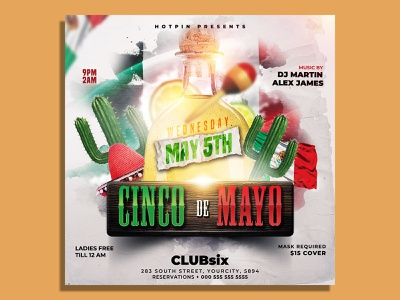 Cinco De Mayo Flyer Template mexican flyer latino latin party latin night instagram independence day holiday fiesta festival event ethnic dance club flyer celebration celebrate cactus 5 de mayo
