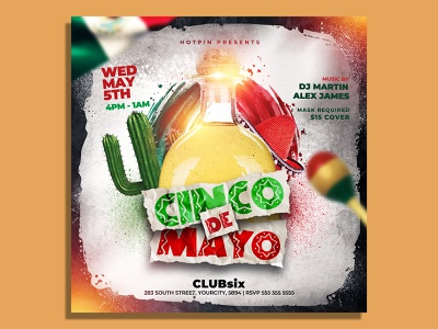 Cinco De Mayo Flyer Template mexican party mexican flyer latin party instagram independence day holiday fiesta festival event ethnic dj flyer dance club flyer celebration celebrate cactus 5 de mayo