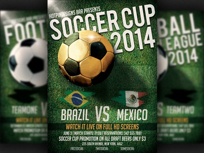 World Cup Soccer Football Euro Flyer Template By Christos