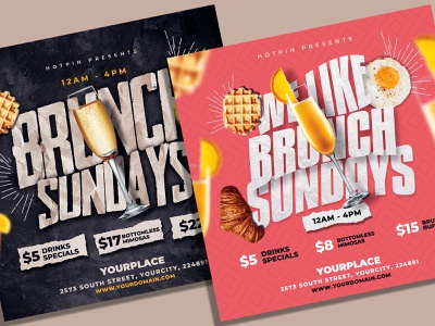 Brunch Flyer Template Bundle post party flyer party offers offer menu lunch lounge bar leaflet instagram food flyer easter drinks club flyer cafe buffet brunch sunday brunch