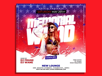 Memorial Day Party Flyer Template party flyer party memorial day july 4th instagram independence flyer independence day fourth of july flyer template fireworks event flyer event dj flyer club flyer bbq barbecue american flag american 4th of july