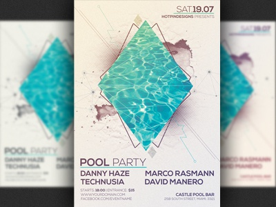 Minimalism Summer Pool Party Flyer Template By Christos Andronicou