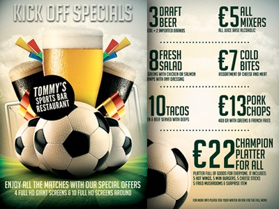 Football Soccer Sports Bar Promotion Flyer Menu By Christos