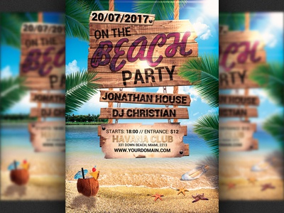 Summer Beach Party Flyer Template by Christos Andronicou Dribbble – Beach Party Flyer Template