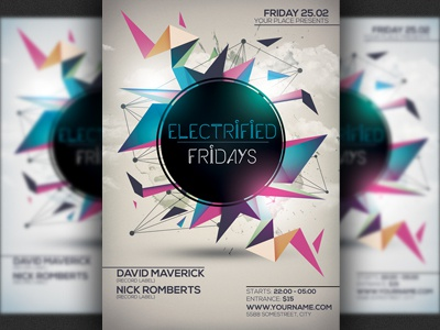 futuristic minimal party flyer template by hotpin dribbble dribbble