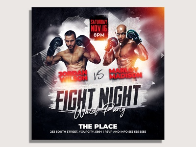 MMA Boxing Flyer Template watch party