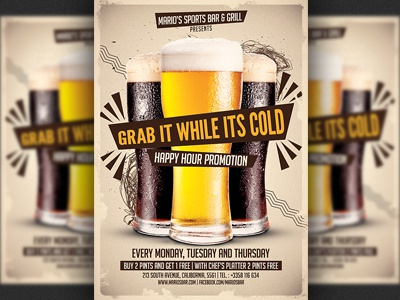 Beer Promotion Happy Hour Flyer Template Sports Bar Modern Design Print