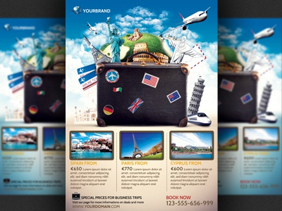 travel agency promotional flyer template by christos andronicou