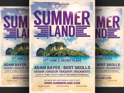 Summer Land Beach Party Flyer Template By Christos Andronicou Dribbble