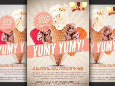 Icecream Shop Promotion Offer Flyer Template By Christos Andronicou