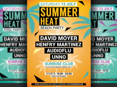 minimal summer party flyer template by hotpin dribbble dribbble