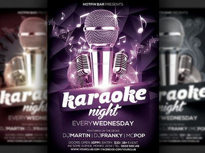 Karaoke Party Flyer Template a5 flyer modern event flyer karaoke karaoke flyer karaoke night karaoke party party talent show promotion live music