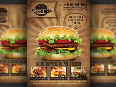 Burger Fast Food Promotion Flyer Template By Christos Andronicou