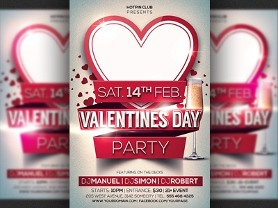 Valentines Day Party Flyer Template By Christos Andronicou Dribbble