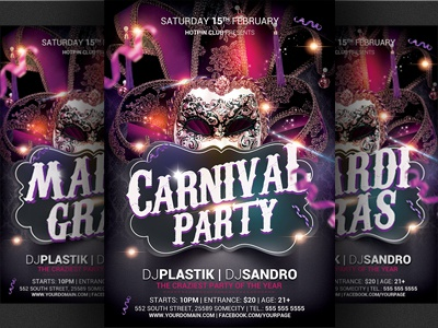 carnival n mardi gras party flyer template by christos andronicou