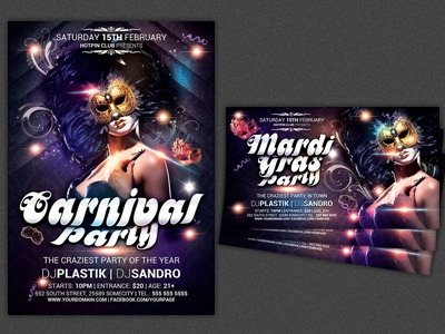 Carnival n Mardi Gras Party Flyer Template
