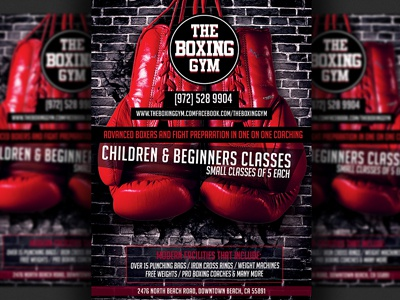 Boxing Gym Flyer Template boxing boxing training boxing gym mma kickboxing coaching training design editable fight advertising promotional