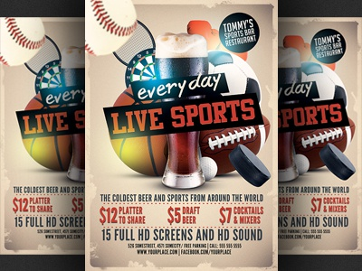 Sports Bar Flyer Template v2 baseball basketball beer football happy hour hockey poster promotion soccer sports sports bar tennis