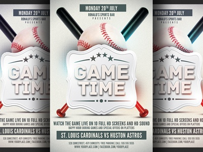 baseball game flyer template by hotpin dribbble dribbble