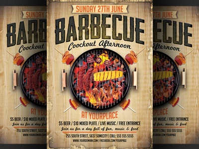 Bbq / Barbecue Flyer Template By Christos Andronicou - Dribbble