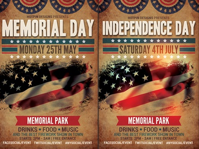 Memorial  Indpendence Day Flyer Template By Christos Andronicou