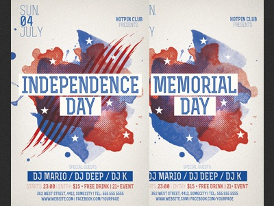 Memorial Independence Day Party Flyer Template By Christos