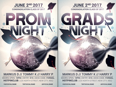 Prom Graduation Night Party Flyer Template By Christos Andronicou