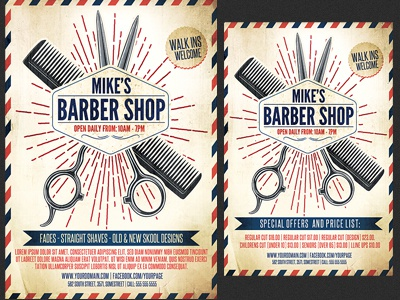 Barber Shop Promotion Flyer Template By Christos Andronicou Dribbble