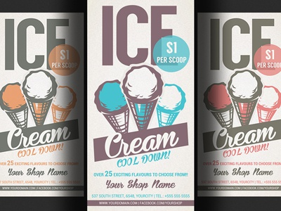 ice cream shop promotion flyer template by hotpin dribbble dribbble