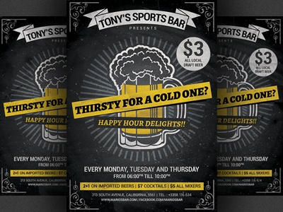 Beer Promotion Happy Hour Flyer Template V2 Sports Bar Pub Poster Drinks Brewery
